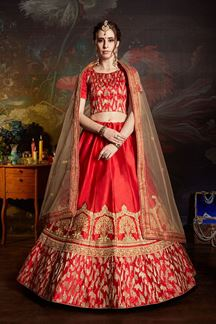 Picture of Flattering Red Colored Designer Embroidered Satin Lehenga Choli