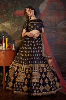 Picture of Innovative Navy Blue Colored Party Wear Embroidered Satin Lehenga