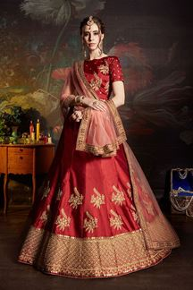 Picture of Intricate Maroon Colored Wedding Wear Embroidered Satin Lehenga Choli