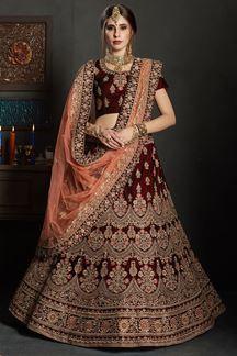 Picture of Royal maroon designer lehenga choli set