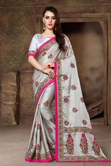 Picture of Glossy grey designer saree with print