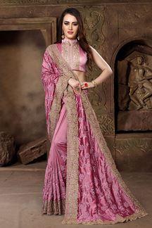 Picture of Glitzy pink designer saree with resham