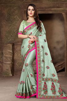 Picture of Glorious pista green designer saree