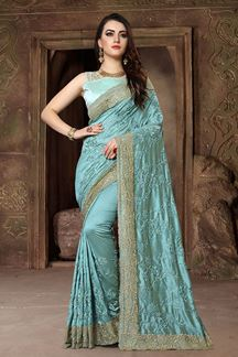 Picture of Magnificent blue designer glossy saree