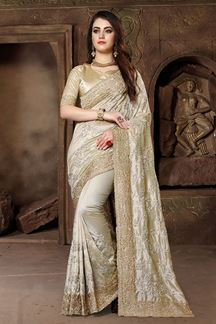 Picture of Gripping beige designer saree in resham