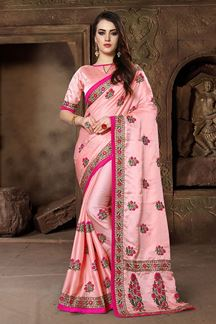 Picture of Peculiar pink designer saree with resham