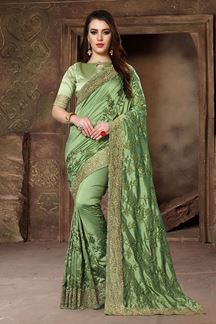 Picture of Lavish green designer saree with resham
