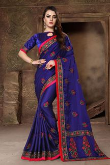 Picture of Enriching ink blue designer saree