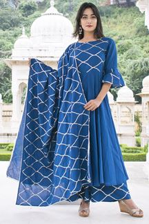 Picture of Tasteful blue designer suit with palazzo