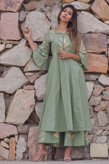 Picture of Pastel green designer palazzo suit