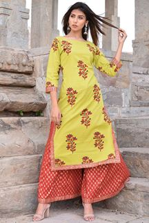 Picture of Green & red designer suit with palazzo