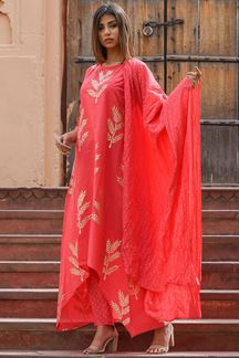 Picture of Graceful coral designer suit with pants