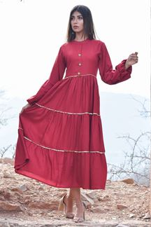 Picture of Fetching red designer tiered flare kurti