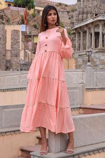 Picture of Feminine peach designer tiered kurti
