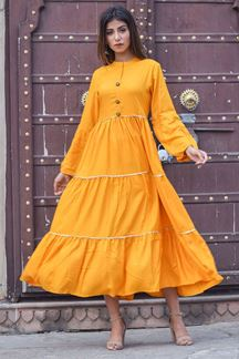 Picture of Fascinating yellow designer tiered kurti