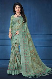 Picture of Transitional green printed designer saree