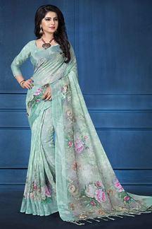 Picture of Significant aqua designer saree with print