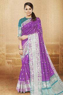 Picture of Arresting violet designer saree with zari