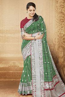 Picture of Traditional green designer saree in zari