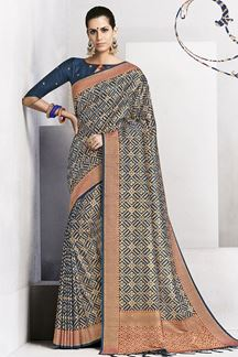 Picture of Lavish dark blue designer saree with zari