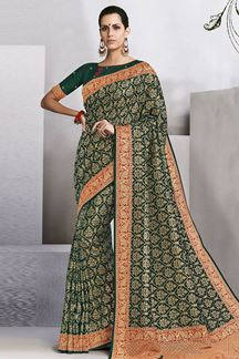 Picture of Appealing deep green designer saree