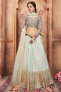 Picture of Stunning grey & aqua designer lehenga