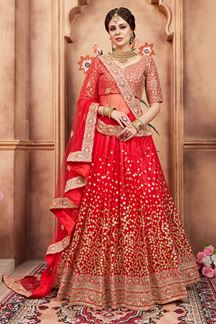 Picture of Enchanting red designer bridal lehenga
