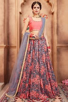 Picture of Modish peach & grey designer lehenga