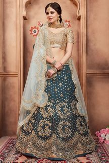 Picture of Gorgeous gold & rama green lehenga set