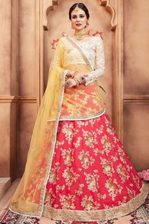 Picture of Artsy Cream & coral pink lehenga set
