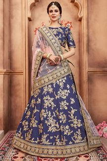 Picture of Fetching indigo blue designer lehenga set
