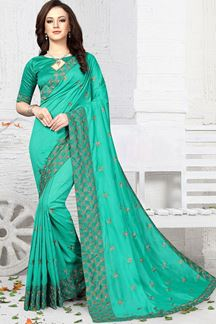 Picture of Affluent green designer saree with zari