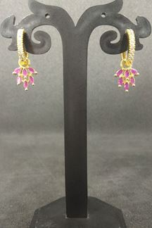 Picture of Gold plated, pink stone worked earrings