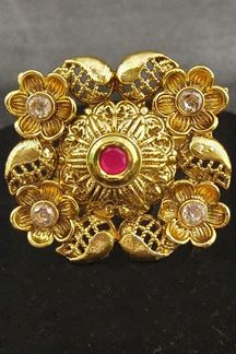 Picture of Gold plated pink stone work finger ring
