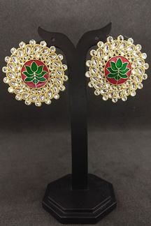 Picture of Red and green painted designer earrings