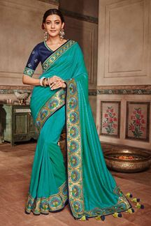 Picture of Sassy blue designer saree with border