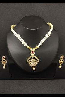 Picture of Gorgeous red stone & white necklace set