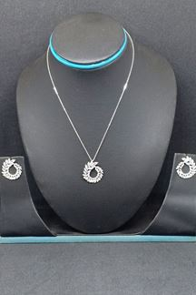 Picture of Fascinating rhodium plated pendant set