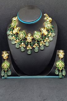 Picture of Catchy green designer necklace set