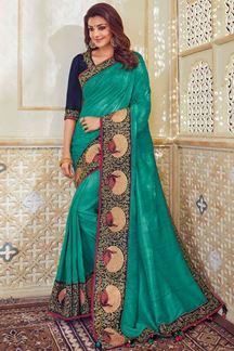 Picture of Genteel sea green designer ombre saree