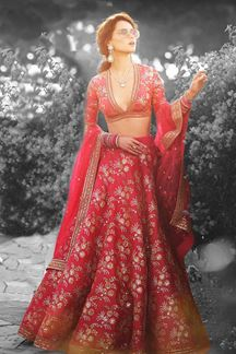 Picture of Soulful red designer lehenga with zari