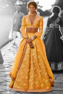 Picture of Tempting yellow designer lehenga choli