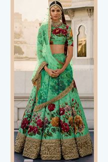 Picture of Tempting green designer lehenga choli