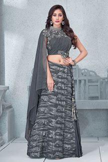 Picture of Modish grey designer lehenga choli set