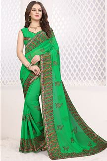 Picture of Glorious green designer georgette saree
