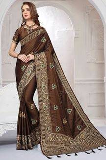 Picture of Scintillating brown designer plain saree