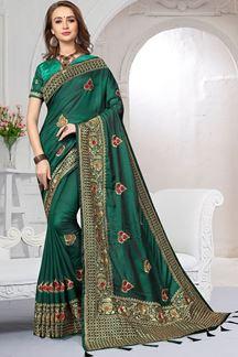 Picture of Infamous deep green designer saree