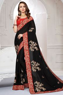 Picture of Timeless black sheer chiffon plain saree