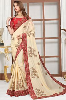 Picture of Graceful cream colored designer saree