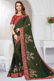 Picture of Fabulous mehndi green designer saree